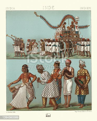 Vintage illustration of Traditional costumes of India, Marriage car, musicians, bagpipe, dancing girl,  19th Century