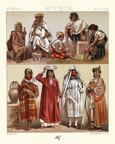 Traditional costumes, North Africa, Algeria, Tunisia, Kabyle, Arab and Jewish women