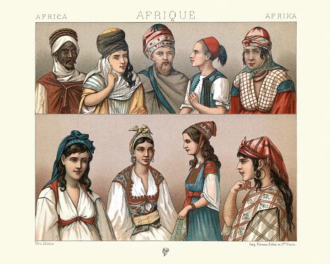 Traditional costumes of Algeria, Berber, Moorish men women, Kouloughli