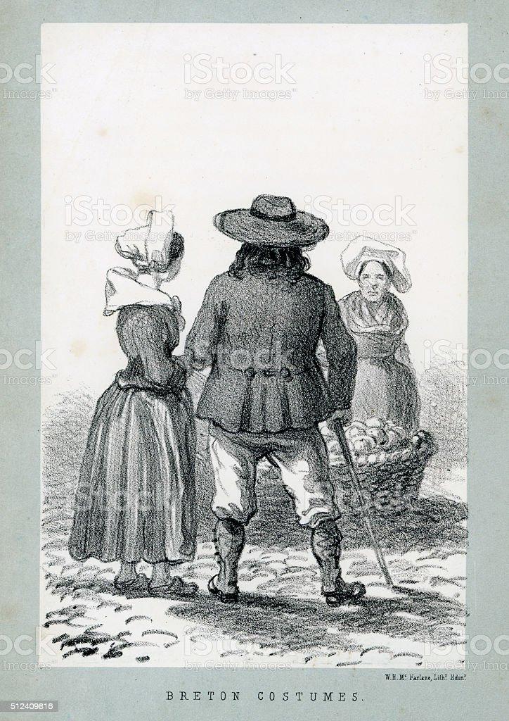 Des costumes traditionnels de Bretagne, en France - Illustration vectorielle