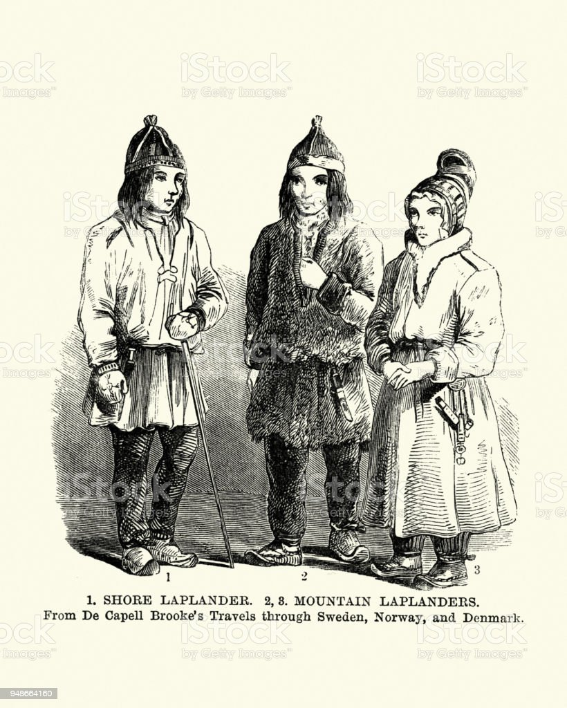 Traditional costumes of Lapland, Finland, 19th Century vector art illustration