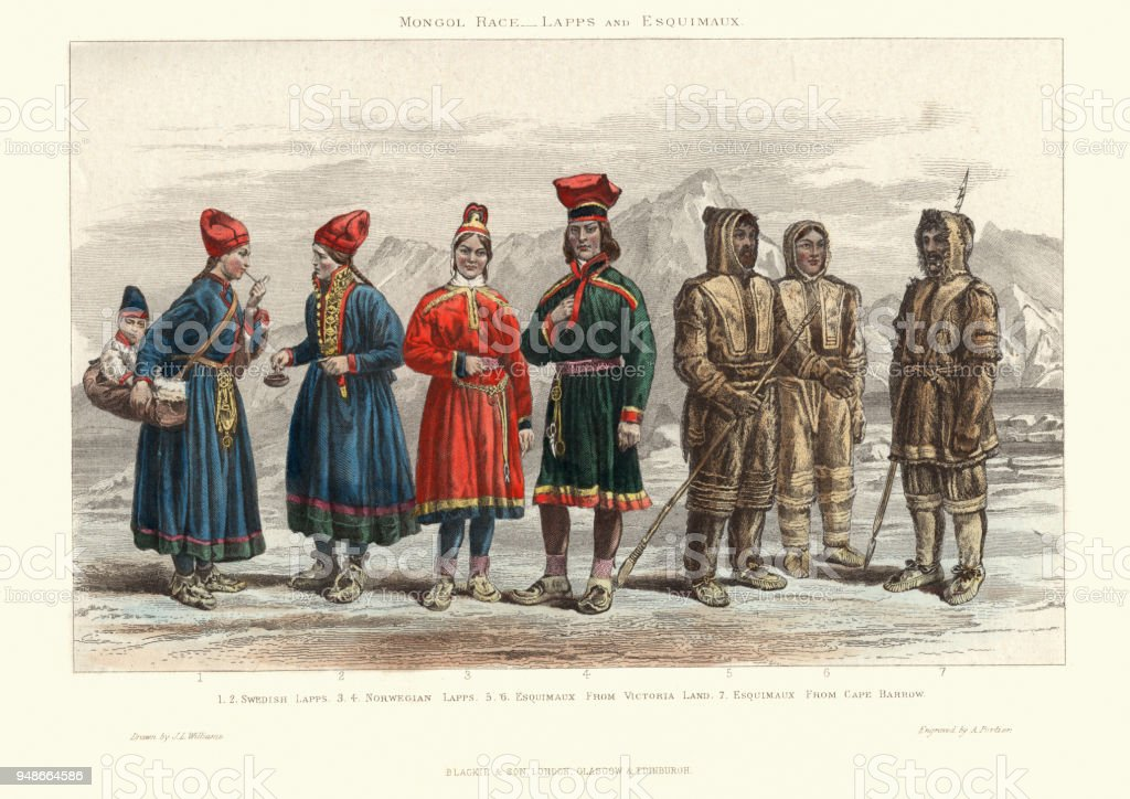 Traditional costumes of Lapps and Eskimos, 19th Century vector art illustration