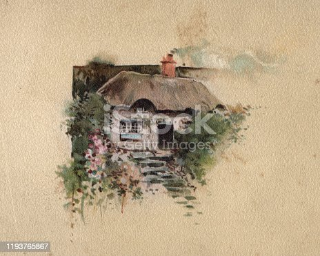 istock Traditional english cottage, Victorian, 19th Century 1193765867
