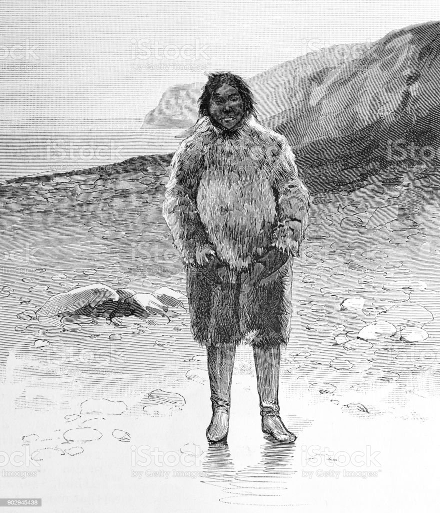 Traditional Eskimo/Inuit Clothing vector art illustration