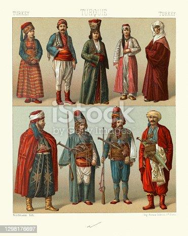 Vintage illustration of Traditional fashions of Turkey, Asiatic polulation, Greek, Jewish, Kurdish, women of Muslim artisans. Turkoman horseman. 19th Century