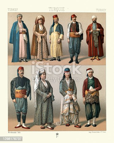 Vintage illustration of Traditional fashions of Turkey, Asiatic turkomans, Muslims, Christians, Jews, 19th Century. Artisans, peasants, stable boy, grocer, doctor