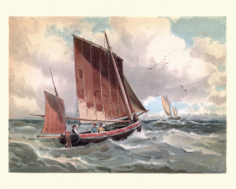 Traditional fishing lugger boats at sea, 19th Century
