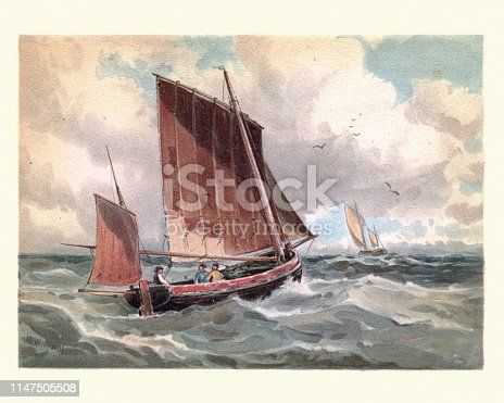 Vintage painting of Marine painting, French lugger standing out to sea, 19th Century, by Walter William May