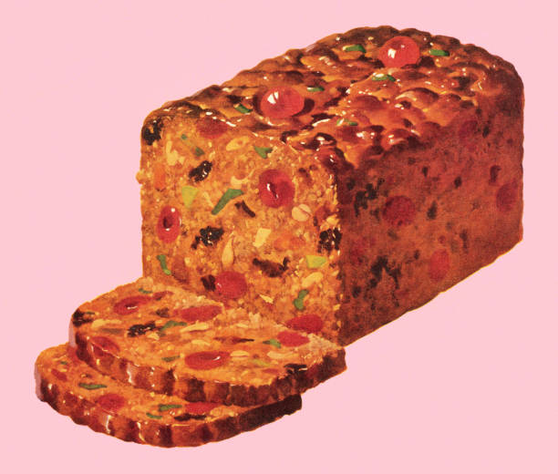 Traditional fruitcake with slices set on a pink background Sliced Fruitcake kitsch stock illustrations