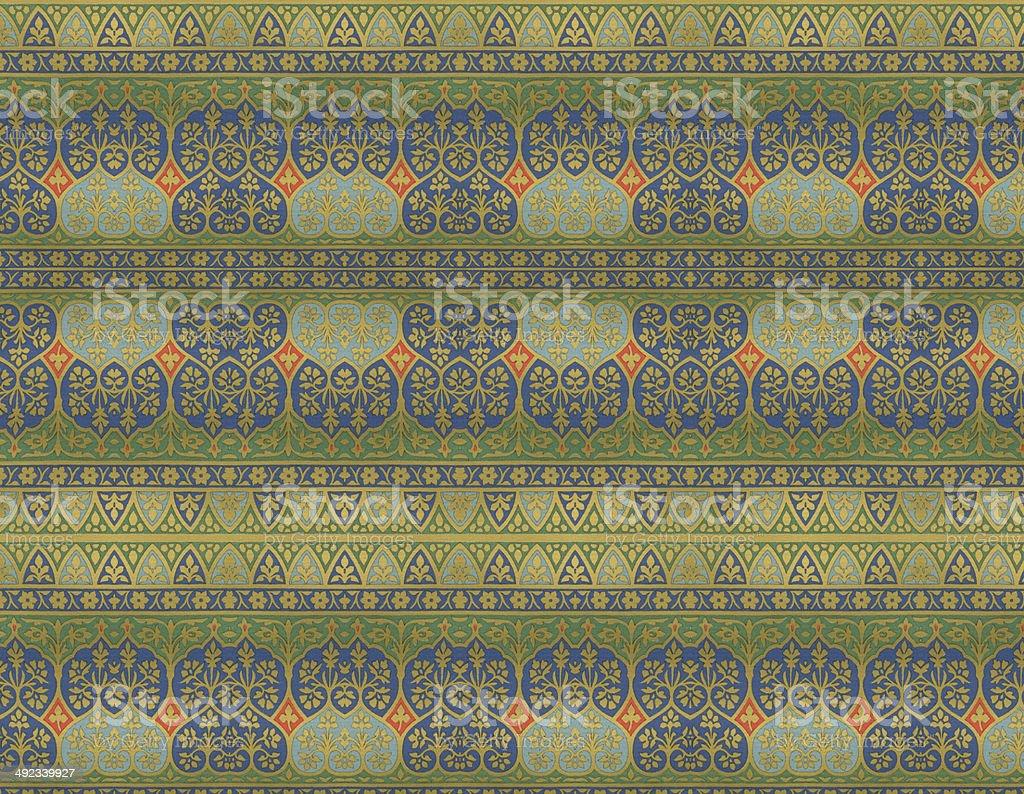 Traditional Green Indian Wallpaper vector art illustration