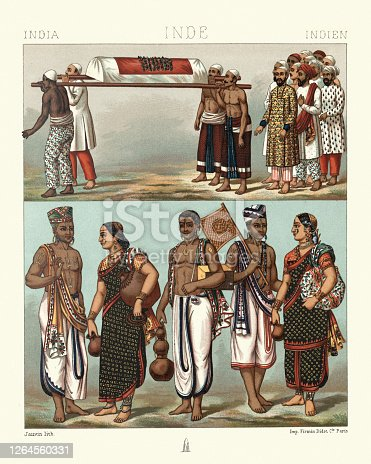 Vintage illustration of Traditional Indian funeral and costumes of Brahmins,  19th Century