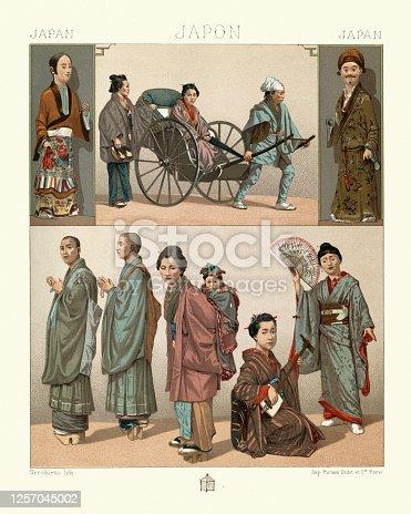istock Traditional japanese clothing, Rickshaw passengers, Bonze buddist monks, Shamisen musician 1257045002