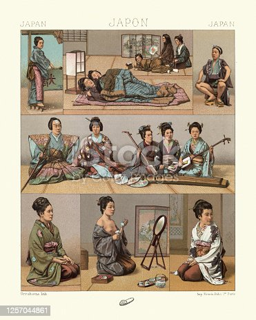 istock Traditional japanese, Sleeping mats, Samurai with traditional musicians, woman getting dressed 1257044861