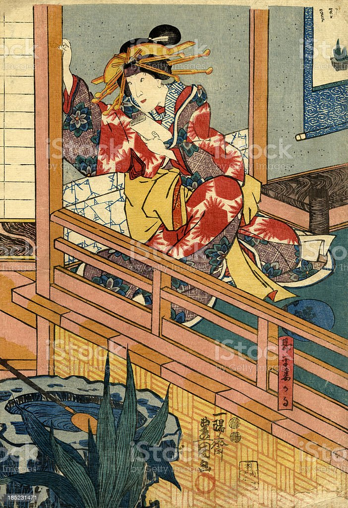 Traditional Japanese Woodblock female by window vector art illustration