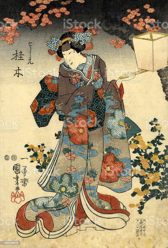 Traditionelle japanische Holzschnitt weiblich mit lattern - Lizenzfrei 19. Jahrhundert Stock-Illustration