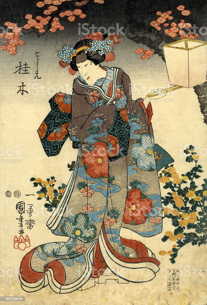 Traditional Japanese Woodblock female with lattern vector art illustration
