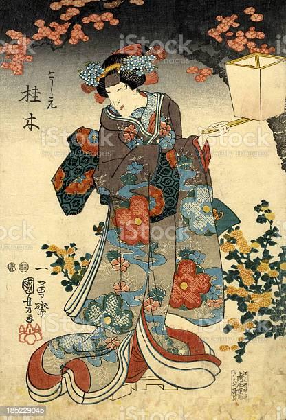 Traditionelle Japanische Holzschnitt Weiblich Mit Lattern Stock Vektor Art und mehr Bilder von 19. Jahrhundert