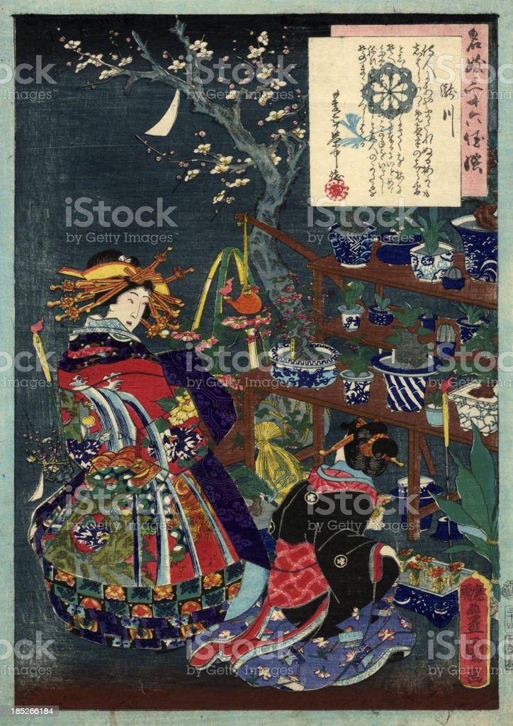 Tradizionale giapponese stampe Geisha s in un giardino - illustrazione arte vettoriale