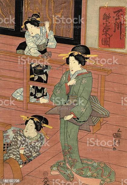Traditionelle Japanische Woodblock Von Frauen Im Zimmer Stock Vektor Art und mehr Bilder von 19. Jahrhundert
