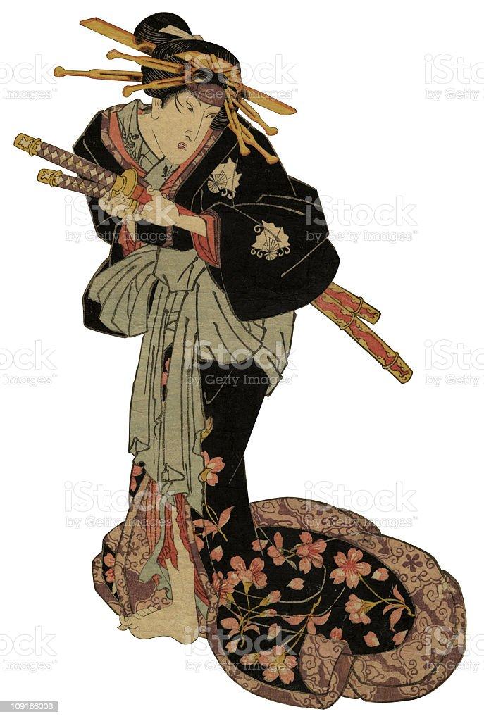 Traditionelle japanische Woodblock der Schauspieler - Lizenzfrei 19. Jahrhundert Stock-Illustration