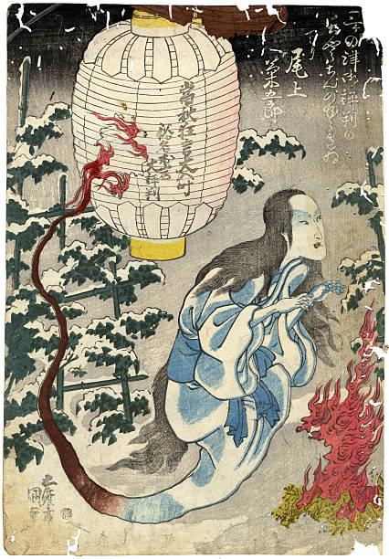 bildbanksillustrationer, clip art samt tecknat material och ikoner med traditional japanese woodblock print of a ghost - japanskt ursprung