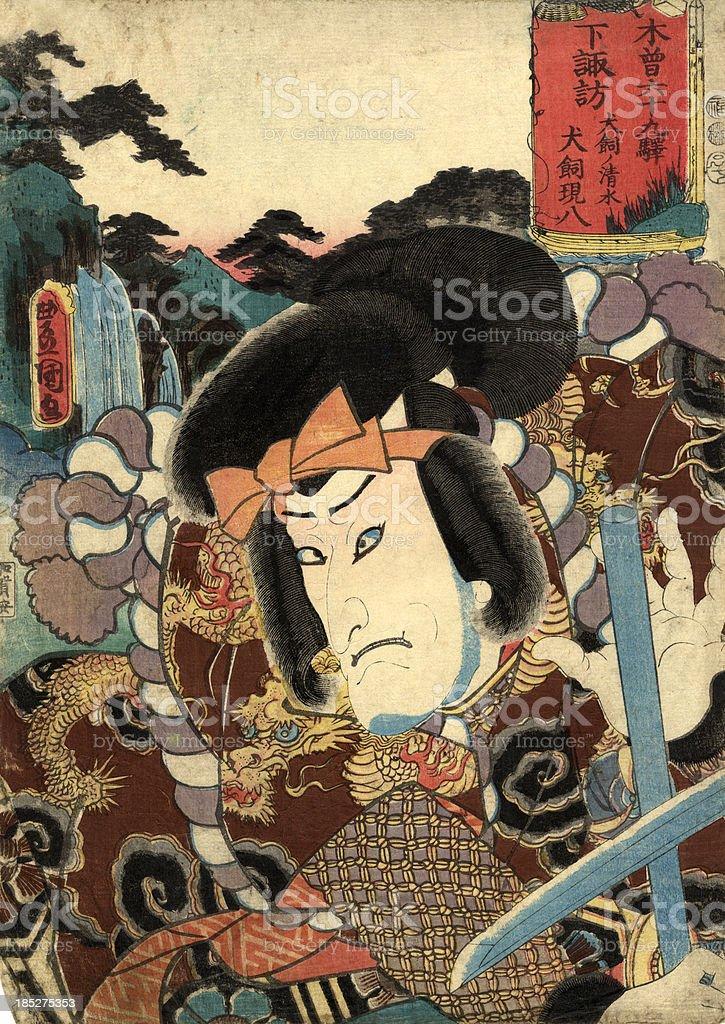 Traditionelle japanische Holzschnitt-Aufdruck der Schauspieler - Lizenzfrei Aggression Stock-Illustration