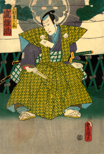 Traditional Japanese Woodblock print of Actor standing