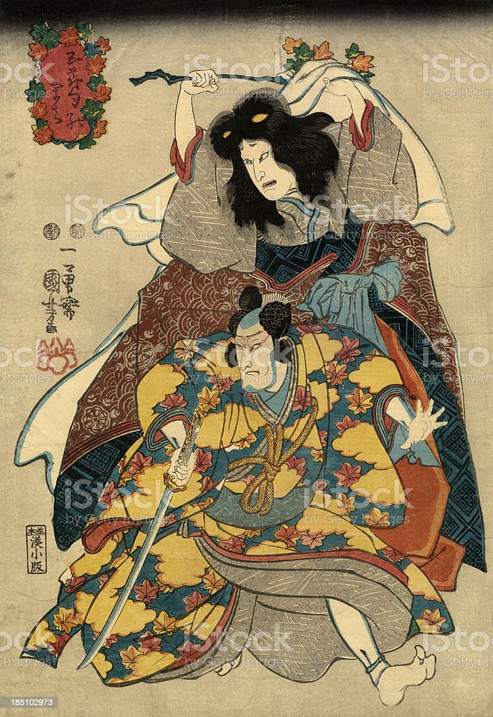 Traditional Japanese Woodblock print of Actors vector art illustration