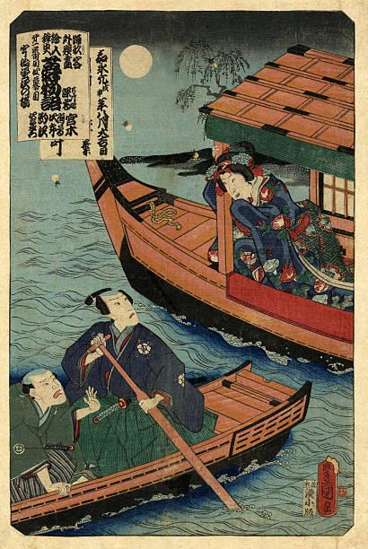 bildbanksillustrationer, clip art samt tecknat material och ikoner med traditional japanese woodblock print of love and the moon - japanskt ursprung