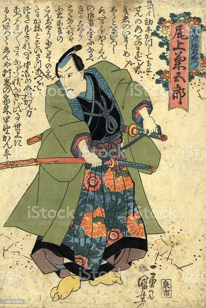 Traditionelle japanische Holzschnitt Kuniyoshi-Aufdruck der Schauspieler - Lizenzfrei 19. Jahrhundert Stock-Illustration