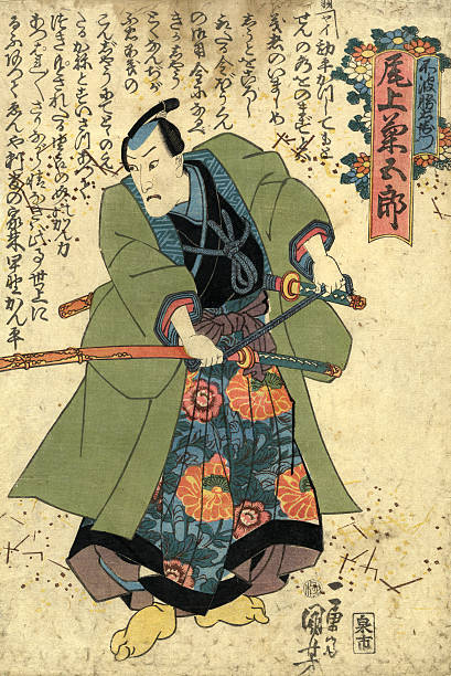 bildbanksillustrationer, clip art samt tecknat material och ikoner med traditional kuniyoshi japanese woodblock print of actor - japanskt ursprung