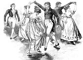 Traditional old dance: couples dancing the Gavotte