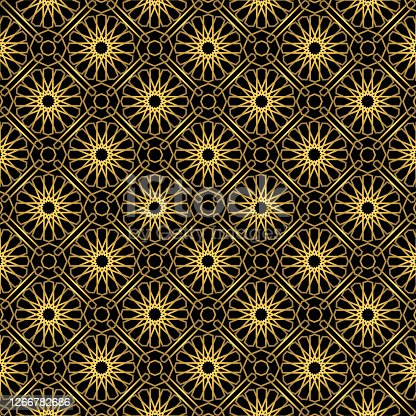 Traditional ornament seamless pattern with golden yellow and black color. Vector illustration.