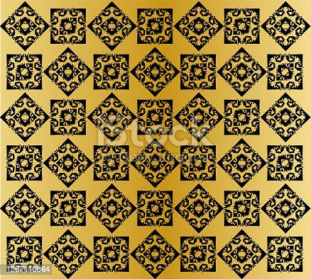 Traditional ornament seamless pattern with shiny golden yellow and black color. Vector illustration.