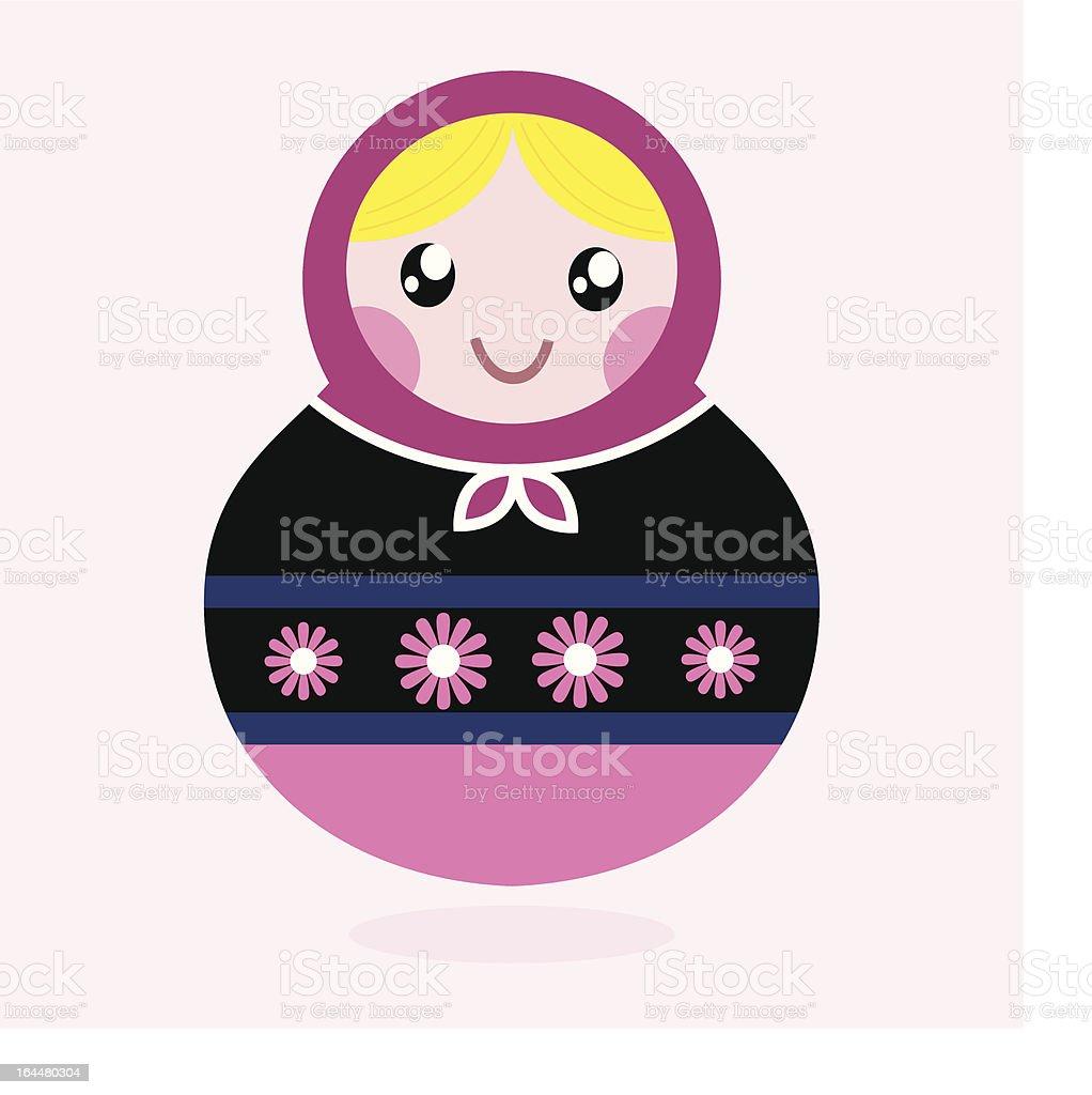 Traditional Russia doll, Matrioshka - pink and black royalty-free stock vector art