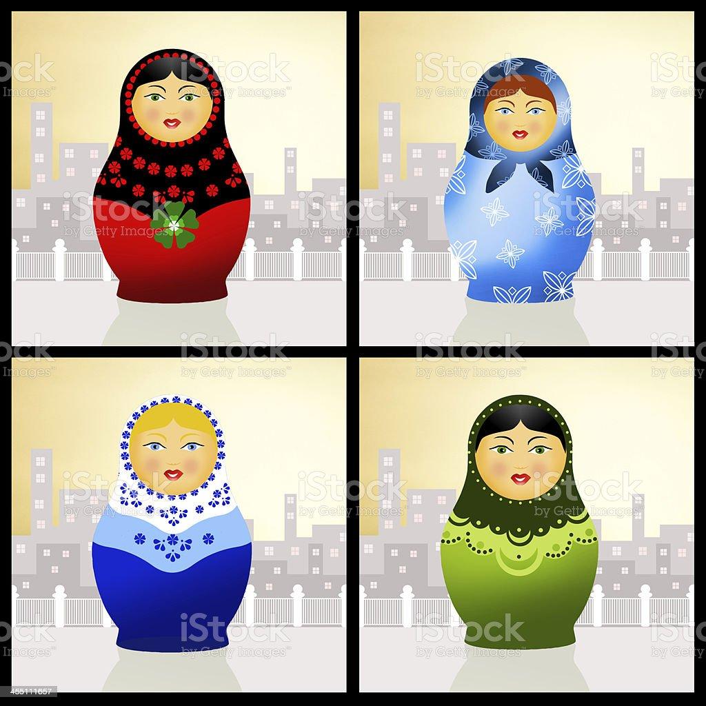 Traditional russian matryoshka dolls royalty-free stock vector art