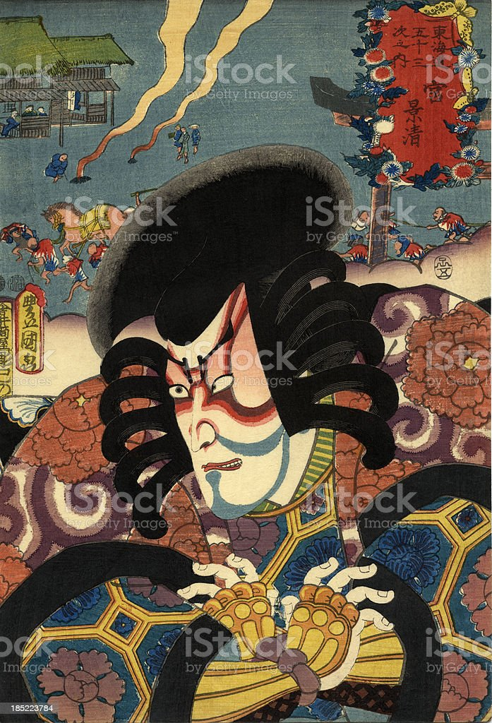 Traditional Toyokuni Japanese Woodblock print of Actor vector art illustration