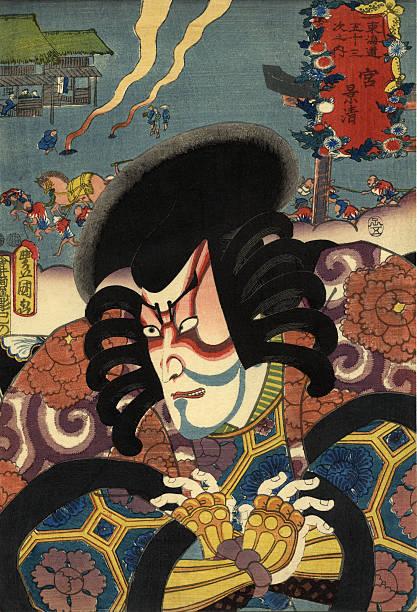 豊國の伝統的な日本の版画プリントの俳優 ベクターアートイラスト