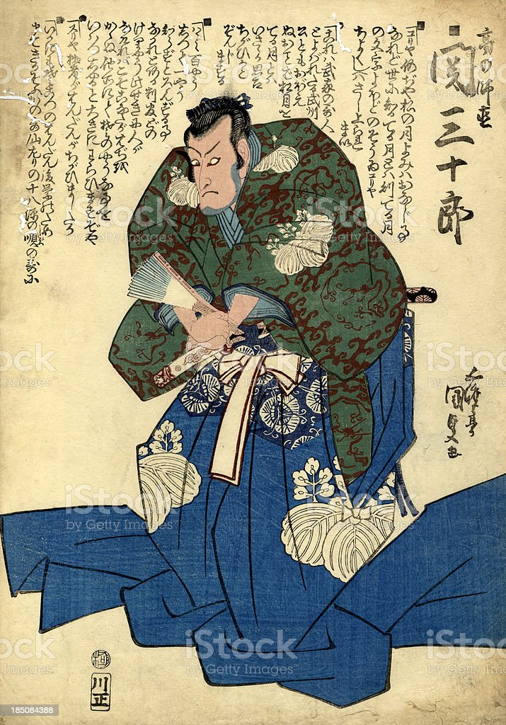 Traditional Woodblock print of Actor vector art illustration