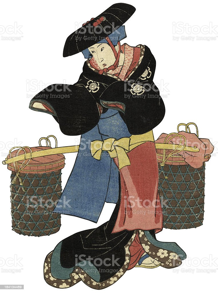 Traditional Woodblock print of female peasant vector art illustration