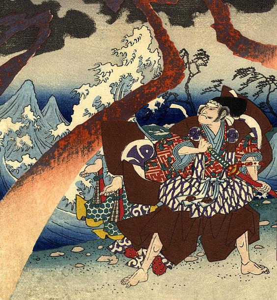 stockillustraties, clipart, cartoons en iconen met traditional woodblock print warriors and storm - japanse etniciteit