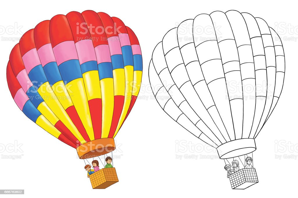 Traffic. Balloon with cute passengers. Coloring page. Illustration for children. Cute and funny cartoon characters traffic balloon with cute passengers coloring page illustration for children cute and funny cartoon characters - immagini vettoriali stock e altre immagini di armenia - paese royalty-free