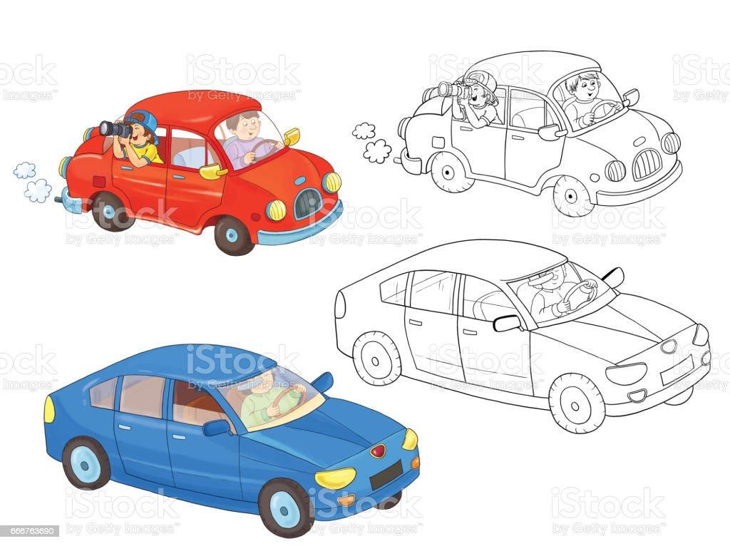 Coloriage Personnages Cars.Trafic Voitures Coloriage Illustration Pour Les Enfants Personnages