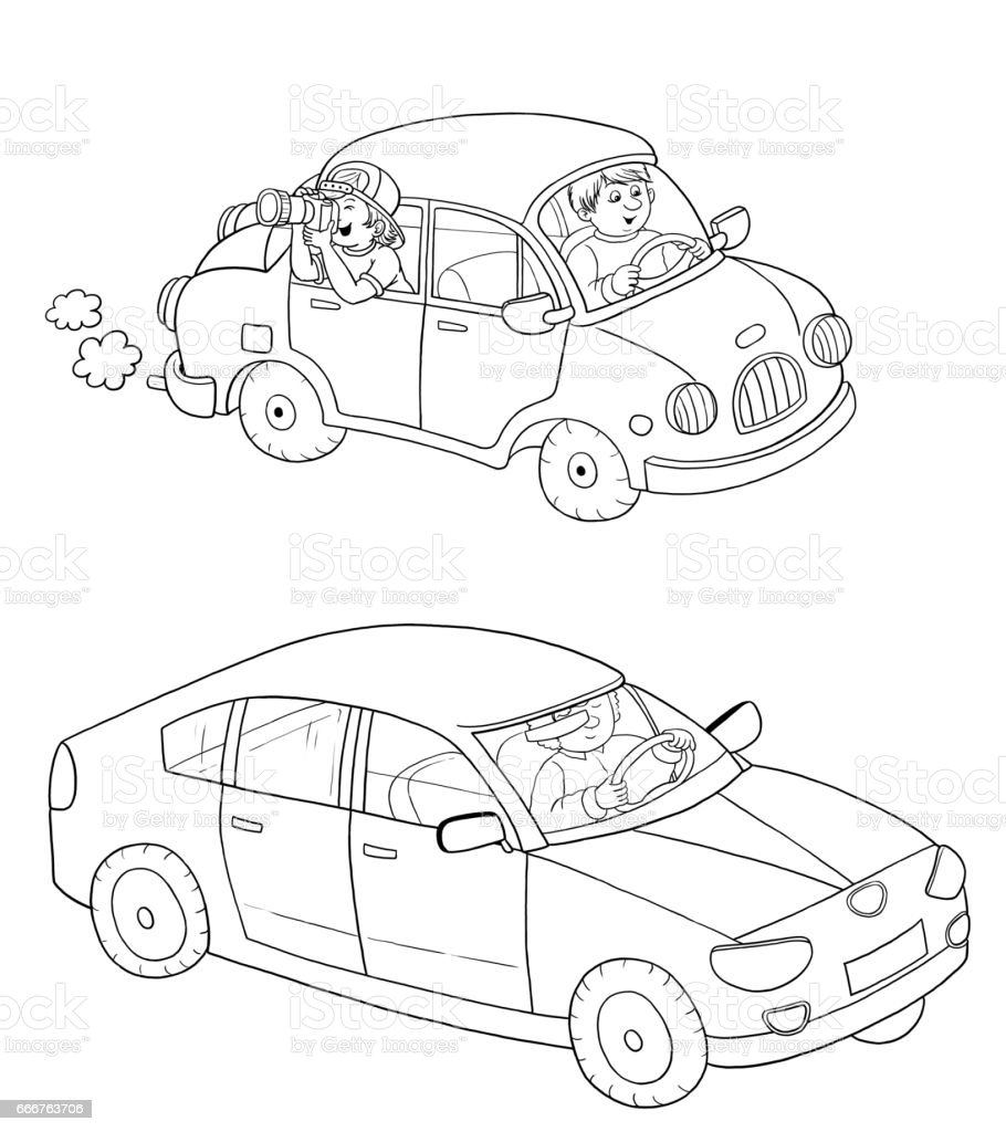 Cars Coloring Page Illustration For Children Cute And Funny Cartoon Characters