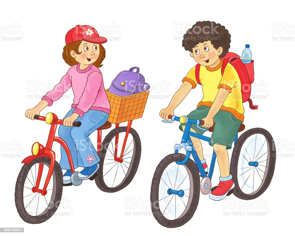 Traffic Coloring Page Bike Illustration For Children Cute