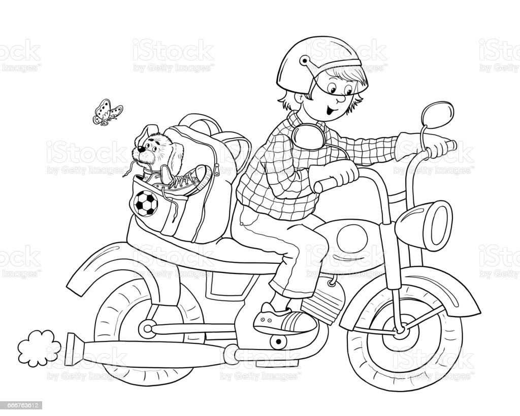 Traffic Coloring Page Motorcycle Illustration For Children