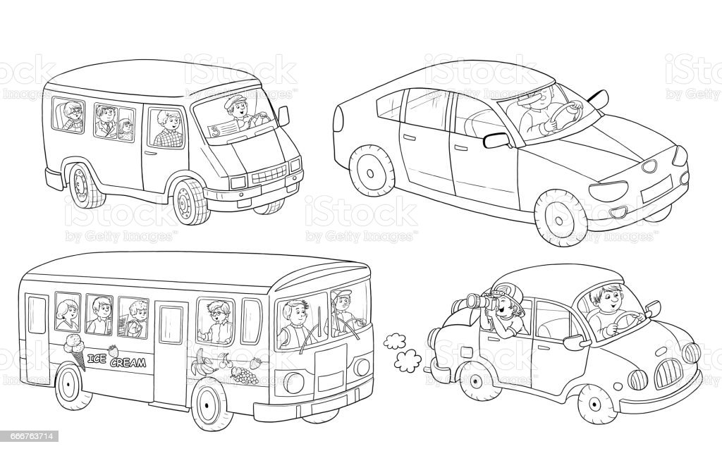 Traffic Coloring Page Small Set Of Cars Illustration For