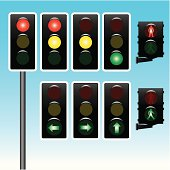 """Vector illustration of traffic lights, different options: red, red and yellow, yellow and green light, turn left, right and straight ahead, and pedestrian traffic lights.  Very esay to edit, a post is included so you can create your own traffic light."""