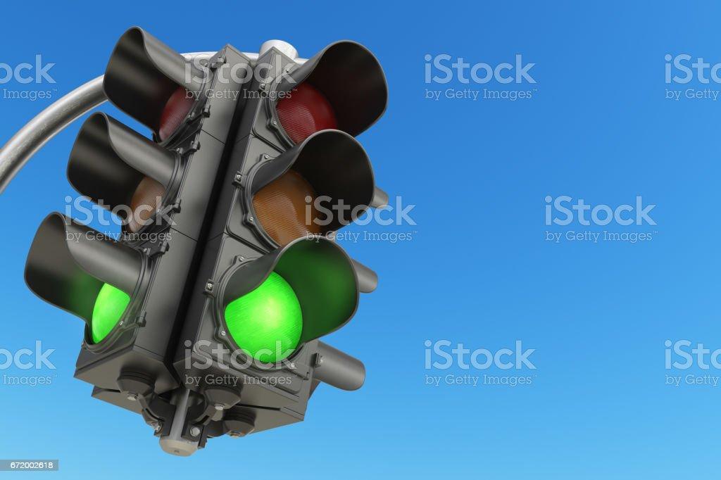 Traffic light with green color on blue sky background. - ilustración de arte vectorial