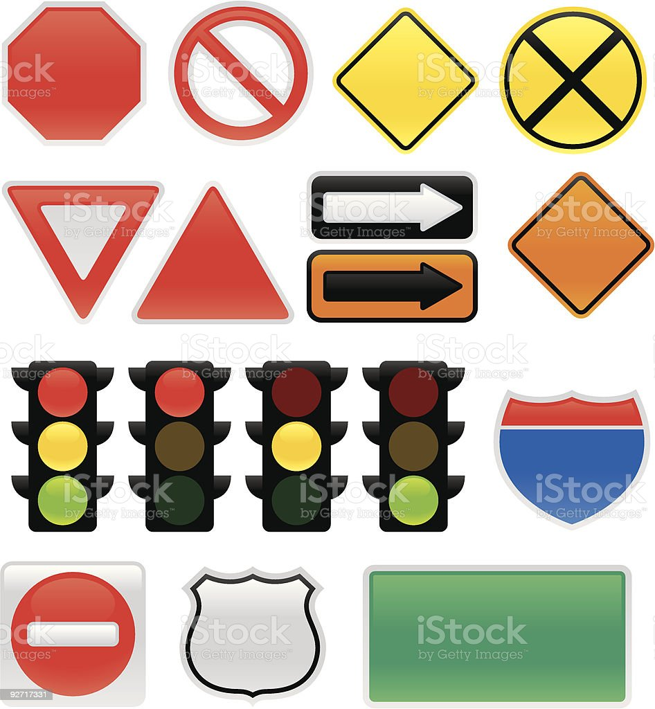 Traffic Signs and Symbols vector art illustration